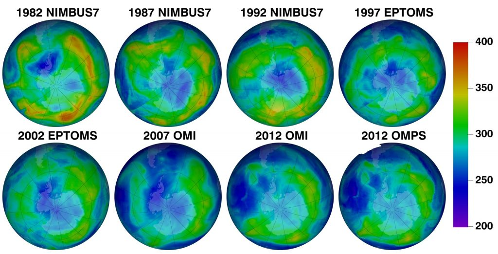 Ozone map over the years